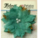 Petaloo - Burlap and Canvas Collection - Floral Embellishments - Burlap Birdsnest Flower - Teal