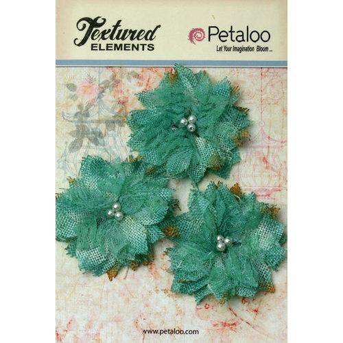 Petaloo - Burlap and Canvas Collection - Floral Embellishments - Burlap Birdsnest Flower - Teal - 3 Pack