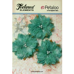Petaloo - Burlap and Canvas Collection - Floral Embellishments - Burlap Birdsnest Flower - Teal - 3 Pack