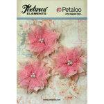 Petaloo - Burlap and Canvas Collection - Floral Embellishments - Burlap Birdsnest Flower - Pink - 3 Pack
