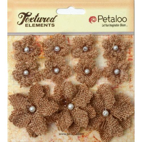 Petaloo - Burlap and Canvas Collection - Floral Embellishments - Burlap Flowers - Natural