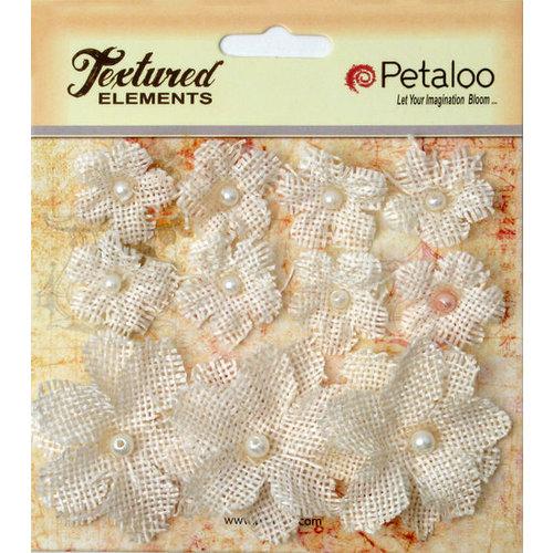 Petaloo - Burlap and Canvas Collection - Floral Embellishments - Burlap Flowers - Ivory