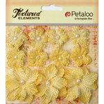 Petaloo - Burlap and Canvas Collection - Floral Embellishments - Burlap Flowers - Yellow