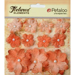Petaloo - Burlap and Canvas Collection - Floral Embellishments - Burlap Flowers - Apricot