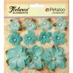 Petaloo - Burlap and Canvas Collection - Floral Embellishments - Burlap Flowers - Teal