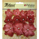 Petaloo - Textured Elements Collection - Floral Embellishments - Mini Burlap - Antique Red