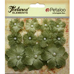 Petaloo - Textured Elements Collection - Floral Embellishments - Mini Burlap - Antique Green