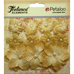 Petaloo - Textured Elements Collection - Floral Embellishments - Mini Burlap - Antique Gold