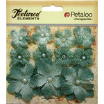 Petaloo - Textured Elements Collection - Floral Embellishments - Mini Burlap - Antique Blue