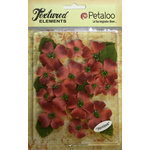 Petaloo - Burlap and Canvas Collection - Floral Embellishments - Dogwood - Canvas - Antique Red