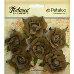 Petaloo - Burlap and Canvas Collection - Floral Embellishments - Garden Rosettes - Canvas - Natural