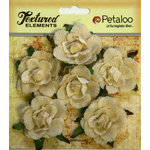Petaloo - Burlap and Canvas Collection - Floral Embellishments - Garden Rosettes - Canvas - Ivory
