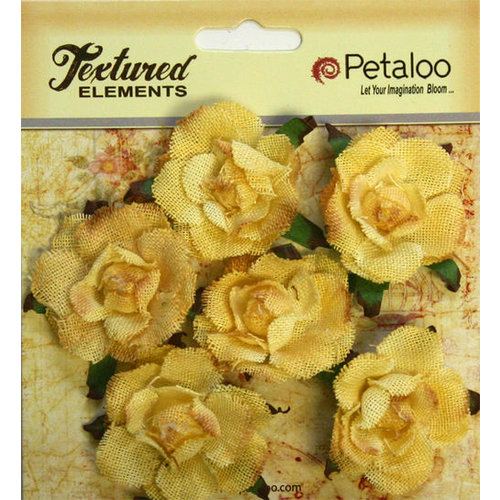 Petaloo - Burlap and Canvas Collection - Floral Embellishments - Garden Rosettes - Canvas - Yellow