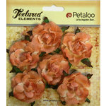 Petaloo - Burlap and Canvas Collection - Floral Embellishments - Garden Rosettes - Canvas - Peach