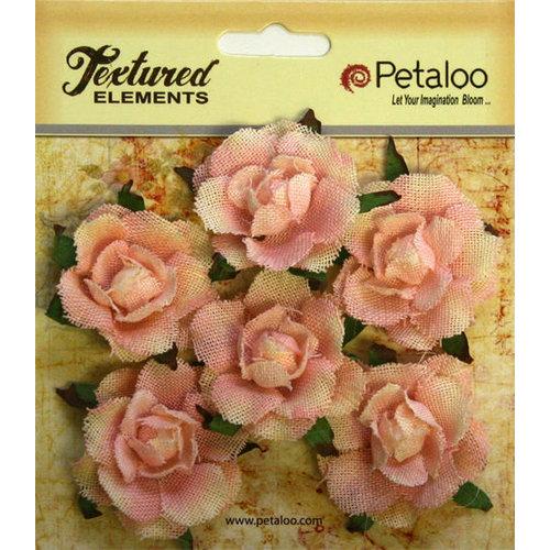 Petaloo - Burlap and Canvas Collection - Floral Embellishments - Garden Rosettes - Canvas - Pink