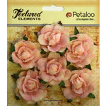 Petaloo - Burlap and Canvas Collection - Floral Embellishments - Garden Rosettes - Canvas - Pink