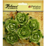 Petaloo - Burlap and Canvas Collection - Floral Embellishments - Garden Rosettes - Canvas - Green