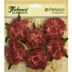 Petaloo - Burlap and Canvas Collection - Floral Embellishments - Garden Rosettes - Canvas - Antique Red