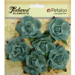 Petaloo - Burlap and Canvas Collection - Floral Embellishments - Garden Rosettes - Canvas - Antique Blue