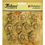 Petaloo - Burlap and Canvas Collection - Floral Embellishments - Mini Garden Rosettes - Canvas - Ivory