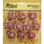Petaloo - Burlap and Canvas Collection - Floral Embellishments - Mini Garden Rosettes - Canvas - Lavender