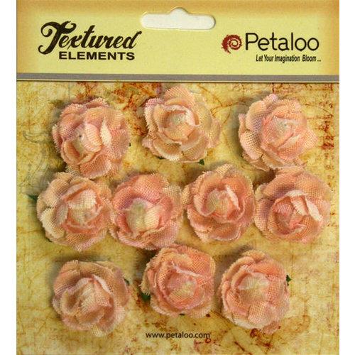 Petaloo - Burlap and Canvas Collection - Floral Embellishments - Mini Garden Rosettes - Canvas - Pink