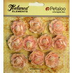 Petaloo - Burlap and Canvas Collection - Floral Embellishments - Mini Garden Rosettes - Canvas - Pink
