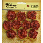 Petaloo - Burlap and Canvas Collection - Floral Embellishments - Mini Garden Rosettes - Canvas - Antique Red