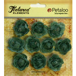 Petaloo - Burlap and Canvas Collection - Floral Embellishments - Mini Garden Rosettes - Canvas - Antique Blue