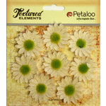 Petaloo - Burlap and Canvas Collection - Floral Embellishments - Mini Daisies - Burlap - Ivory