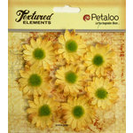 Petaloo - Burlap and Canvas Collection - Floral Embellishments - Mini Daisies - Burlap - Yellow