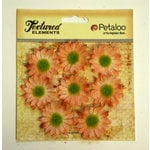 Petaloo - Burlap and Canvas Collection - Floral Embellishments - Mini Daisies - Burlap - Peach