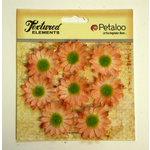 Petaloo - Burlap and Canvas Collection - Floral Embellishments - Mini Daisies - Burlap - Peach