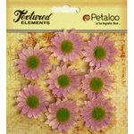 Petaloo - Burlap and Canvas Collection - Floral Embellishments - Mini Daisies - Burlap - Lavender