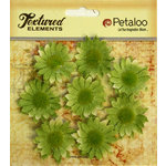 Petaloo - Burlap and Canvas Collection - Floral Embellishments - Mini Daisies - Burlap - Green