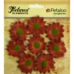 Petaloo - Burlap and Canvas Collection - Floral Embellishments - Mini Daisies - Burlap - Antique Red
