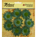 Petaloo - Burlap and Canvas Collection - Floral Embellishments - Mini Daisies - Burlap - Antique Blue