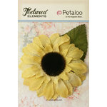 Petaloo - Textured Elements Collection - Floral Embellishments - Burlap Giant Sunflower - Yellow
