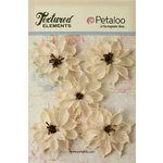Petaloo - Textured Elements Collection - Floral Embellishments - Burlap Wild Sunflowers - Ivory
