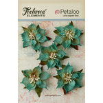 Petaloo - Textured Elements Collection - Christmas - Floral Embellishments - Burlap Poinsettias - Teal