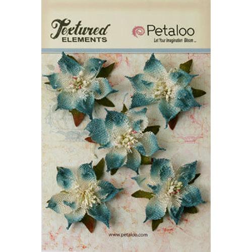 Petaloo - Textured Elements Collection - Christmas - Floral Embellishments - Burlap Poinsettias - Blue