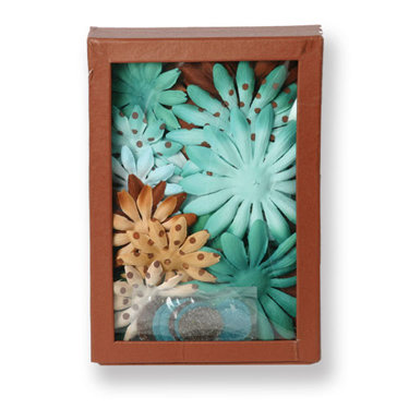 Petaloo - Sunken Treasure Collection - Flowers - Daisy Box Blend - Large -Teal and Brown, CLEARANCE