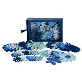 Petaloo - Blue Crush Collection - Flowers - Daisy Box Blend - Large - Light Blue and Dark Blue