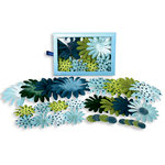 Petaloo - Flora Doodles - Daisy Box Blend - Large - Light Blue Dark Blue and Green, CLEARANCE