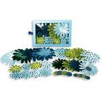 Petaloo - Flora Doodles - Daisy Box Blend - Large - Light Blue Dark Blue and Green, CLEARANCE