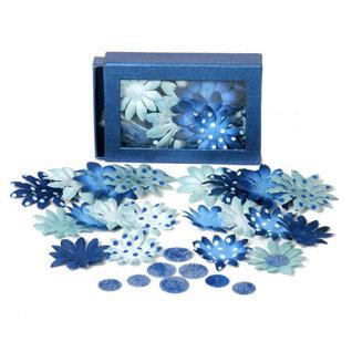 Petaloo - Blue Crush Collection - Flowers - Daisy Box Blend - Small - Light Blue and Dark Blue