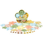 Petaloo - Summer at the Cape Collection - Flowers - Dahlia Box Blend - Large - Gold, Peach, Green and Blue, CLEARANCE