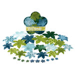 Petaloo - Flora Doodles - Dahlia Box Blend - Large - Light Blue Dark Blue and Green, CLEARANCE