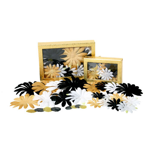 Petaloo - Flora Doodles Collection - Handmade Flowers - Value Pack - Glittered Daisy Blend - Celebrity, CLEARANCE