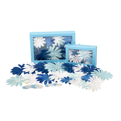 Petaloo - Flora Doodles Collection - Handmade Flowers - Value Pack - Glittered Daisy Blend - Winter, CLEARANCE